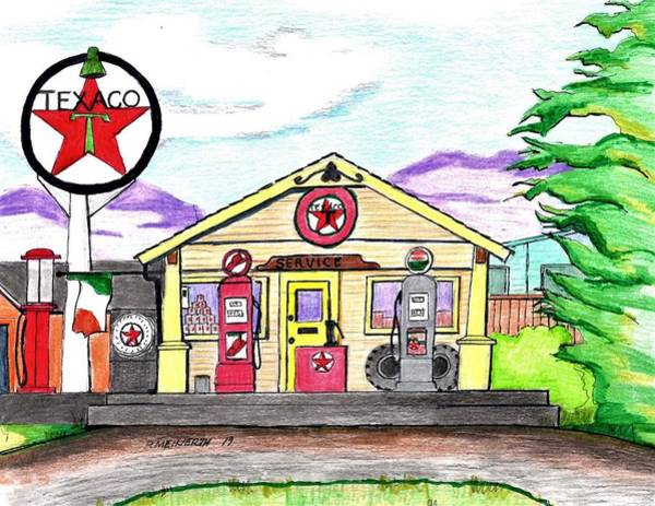 Gas Station Drawing - Old Texaco Gas Station by Paul Meinerth