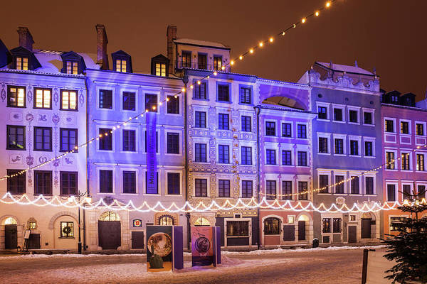 Wall Art - Photograph - Old Town Houses With Christmas Illumination In Warsaw by Artur Bogacki
