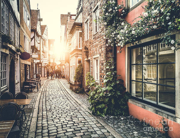 Wall Art - Photograph - Old Town In Europe At Sunset With Retro by Canadastock