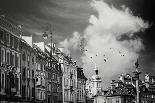 Wall Art - Photograph - Old Town Rooftops Warsaw Poland Black And White by Carol Japp