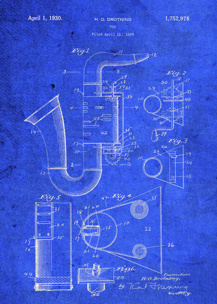 Toy Mixed Media - Old Toy Saxophone Vintage Patent Blueprint by Design Turnpike