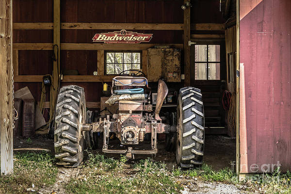 Photograph - Old Tractor In The Barn Vermont by Edward Fielding