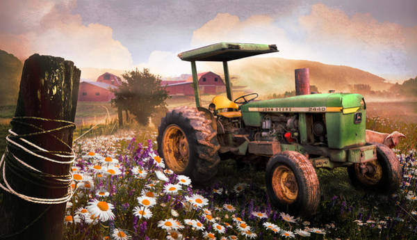 Photograph - Old Tractor In The Fields At Sunset by Debra and Dave Vanderlaan