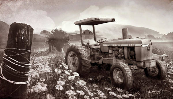 Photograph - Old Tractor In The Fields In Sepia by Debra and Dave Vanderlaan