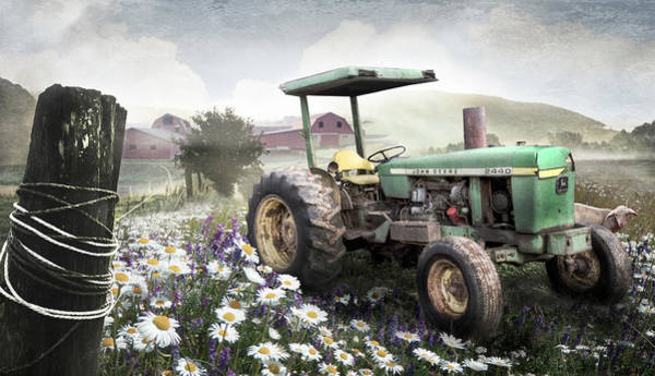 Photograph - Old Tractor In The Fields In Soft Country Colors by Debra and Dave Vanderlaan