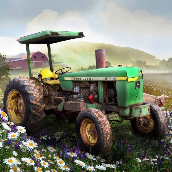 Wall Art - Photograph - Old Tractor In The Fields In Square by Debra and Dave Vanderlaan