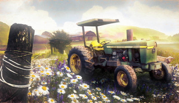 Photograph - Old Tractor In The Fields In Watercolors by Debra and Dave Vanderlaan