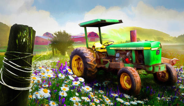 Wall Art - Photograph - Old Tractor In The Fields Painting by Debra and Dave Vanderlaan