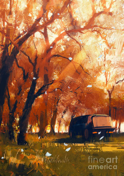 Wall Art - Digital Art - Old Traveling Van In Beautiful Autumn by Tithi Luadthong