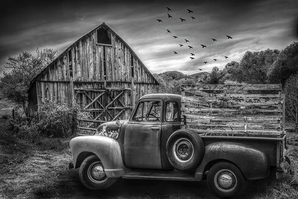 Photograph - Old Truck At The Barn Black And White by Debra and Dave Vanderlaan
