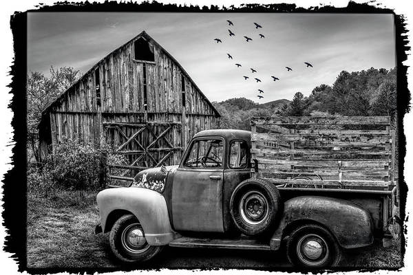 Wall Art - Photograph - Old Truck At The Barn Bordered Black And White by Debra and Dave Vanderlaan