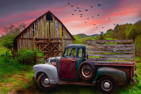 Photograph - Old Truck At The Barn by Debra and Dave Vanderlaan
