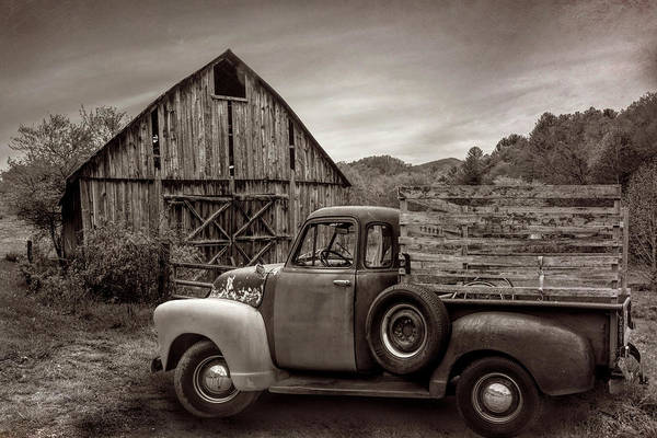 Photograph - Old Truck At The Barn In Vintage Sepia by Debra and Dave Vanderlaan
