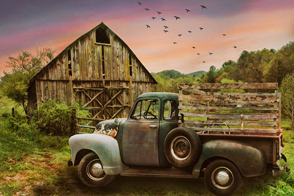 Photograph - Old Truck At The Barn Oil Painting by Debra and Dave Vanderlaan