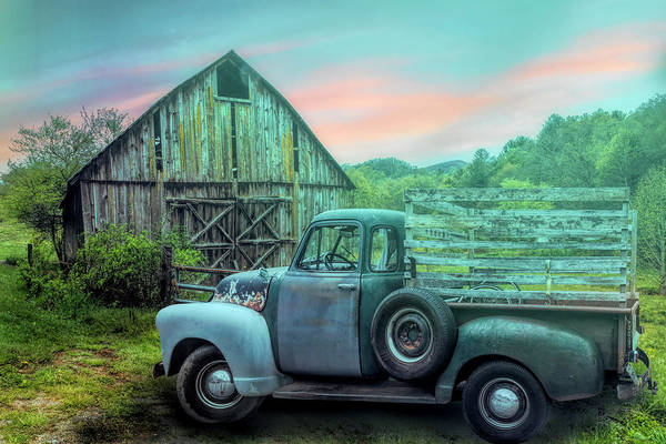 Photograph - Old Truck At The Barn On A Misty Morning by Debra and Dave Vanderlaan