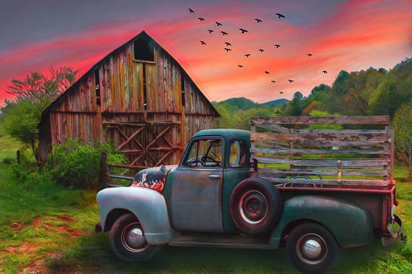 Photograph - Old Truck At The Barn Watercolors Painting by Debra and Dave Vanderlaan
