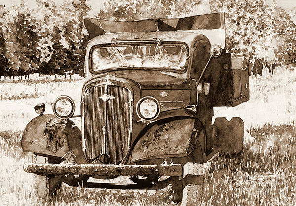 Wall Art - Painting - Old Truck, Pennsylvania Field by Anthony Butera