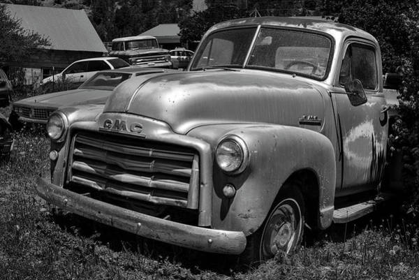 Photograph - Old Vehicle Xii Bw Gmc Truck by David Gordon