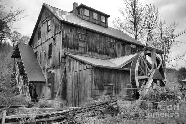 Photograph - Old Vermont Wooden Grist Mill Black And White by Adam Jewell