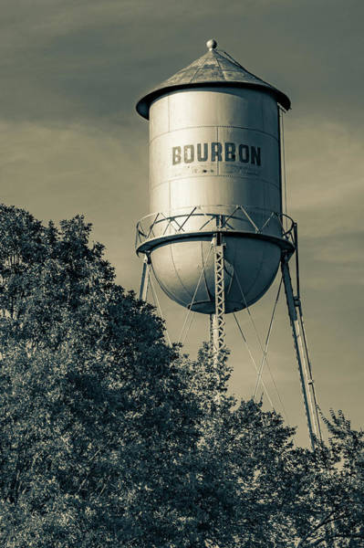 Photograph - Old Vintage Bourbon Water Tower Landscape - Sepia Edition by Gregory Ballos