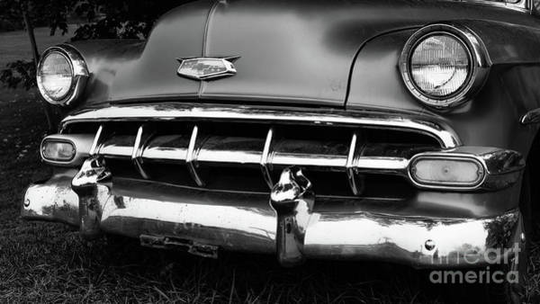 Wall Art - Photograph - Old Vintage Chevy Power Glide 1950s Automobile Black And White by Edward Fielding