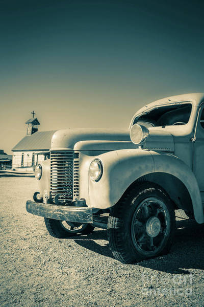 Photograph - Old Vintage Fire Truck Ghost Town by Edward Fielding