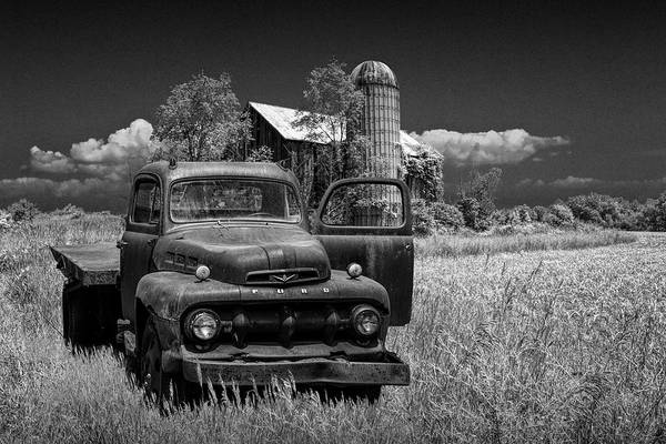 Photograph - Old Vintage Ford Truck On Abandoned Farm In Black And White by Randall Nyhof