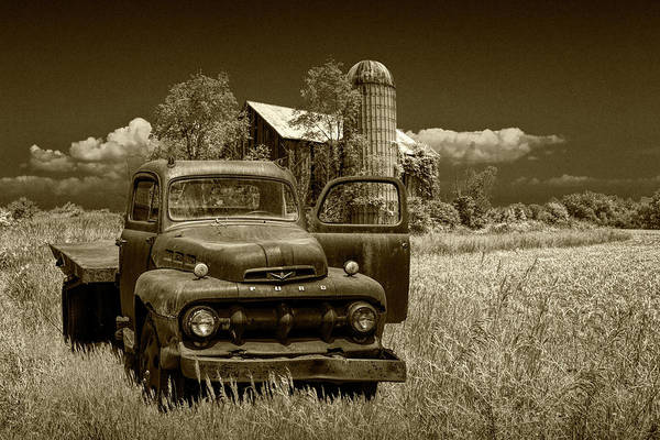 Photograph - Old Vintage Ford Truck On Abandoned Farm In Sepia Tone by Randall Nyhof