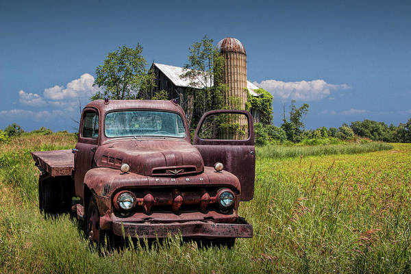 Photograph - Old Vintage Ford Truck On Abandoned Farm by Randall Nyhof
