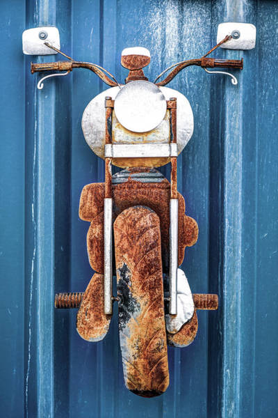 Photograph - Old Vintage Motorcycle Rusty Bike On Sheet Metal by Gregory Ballos