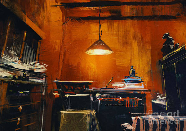 Wall Art - Digital Art - Old Vintage Workspace In Orange by Tithi Luadthong