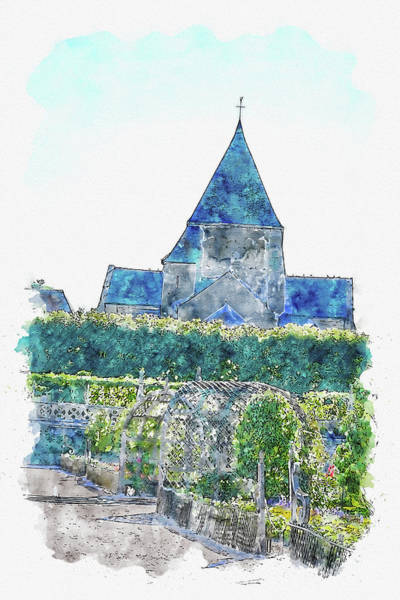 Chs Digital Art - Old #watercolor #sketch #old #historic by TintoDesigns
