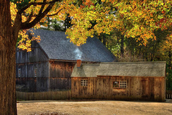 Photograph - Old Weathered Barn In Fall by Joann Vitali