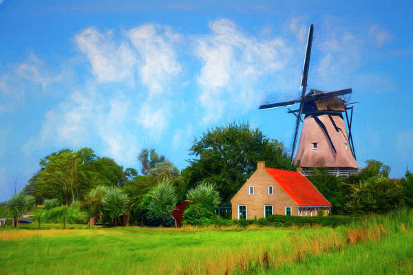 Photograph - Old Windmill On A Dutch Farm Painting by Debra and Dave Vanderlaan
