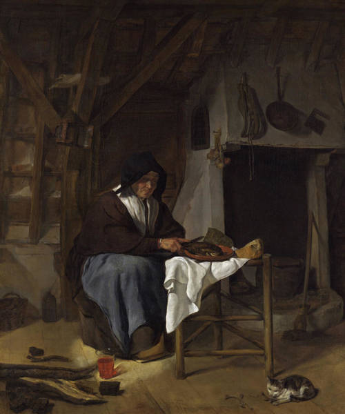 Gabriel Painting - Old Woman At Her Meal In An Interior by Gabriel Metsu