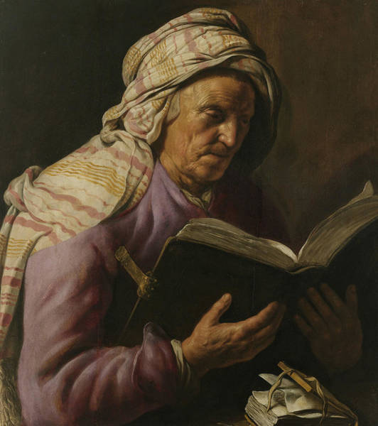 Wall Art - Painting - Old Woman Reading by Jan Lievens