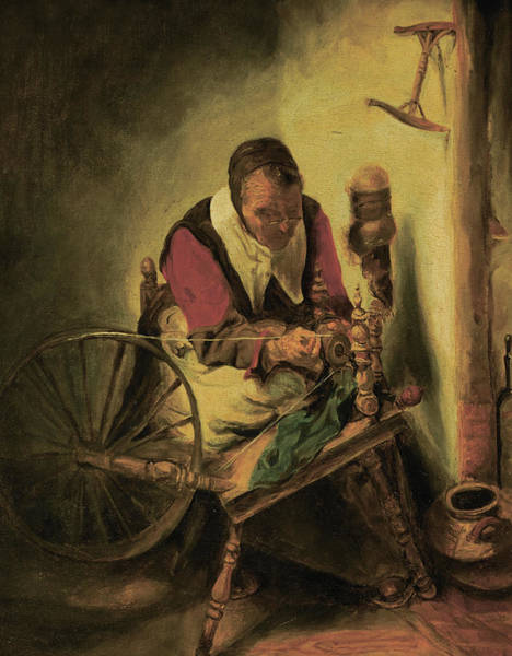 Life After Life Wall Art - Painting - Old Woman Spinning by After Nicolaes Maes
