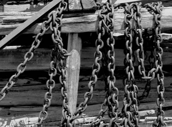 Chain Link Photograph - Old Wood And Chains Bw by Kae Cheatham