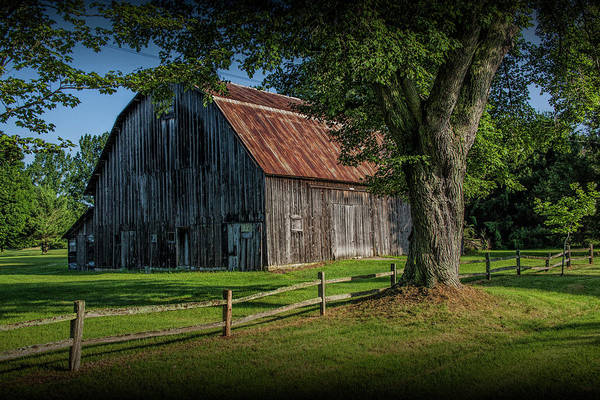 Photograph - Old Wooden Weathered Barn by Randall Nyhof
