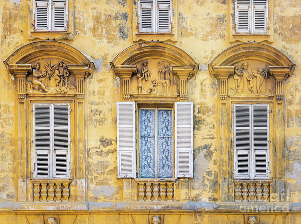 Wall Art - Photograph - Old Yellow Building With Lace Curtain In Nice, France 2 by Liesl Walsh