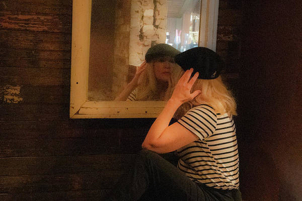 Photograph - Older Attractive Lady In Beret Looking In Mirror by Dan Friend