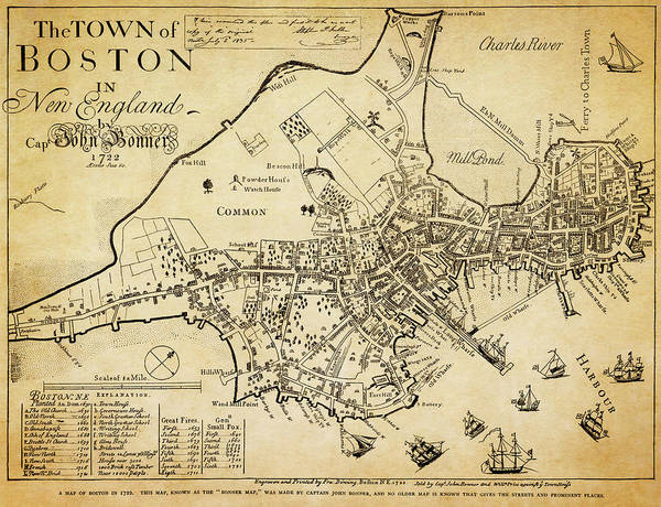 Wall Art - Photograph - Oldest Known Map Of Boston 1722 by Daniel Hagerman