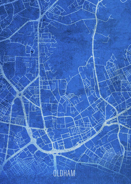 Wall Art - Mixed Media - Oldham England City Street Map Blueprints by Design Turnpike