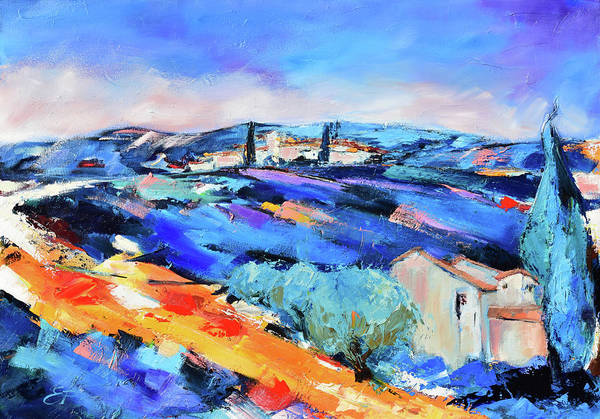 Painting - Olive Trees, Blue Hills And Lavender by Elise Palmigiani