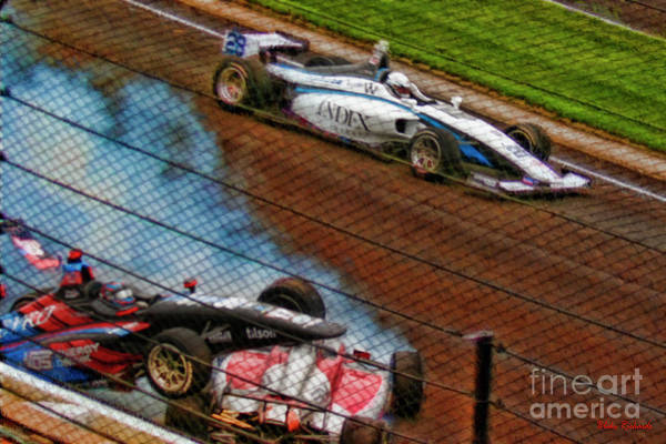 Photograph - Oliver Askew Drives By Chris Windom And David Malukas Crash Indy Lights by Blake Richards