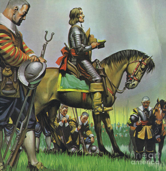 Wall Art - Painting - Oliver Cromwell Praying With His Troops Before Battle by Angus McBride