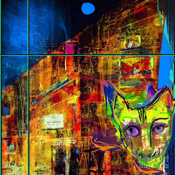 Organic Abstraction Mixed Media - Oliver Night Cat by Zsanan Studio