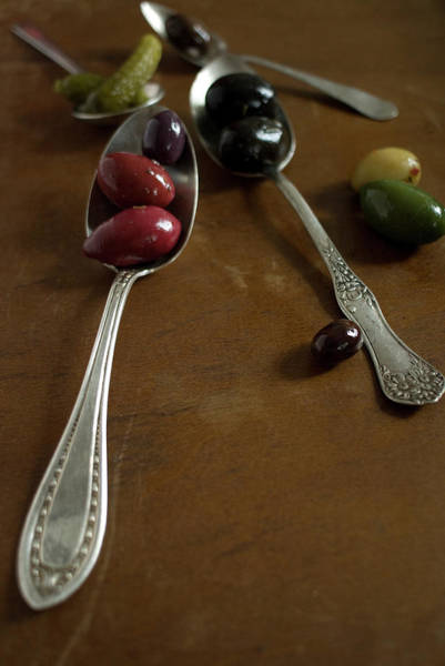 Wall Art - Photograph - Olives And Spoons by Melina Hammer