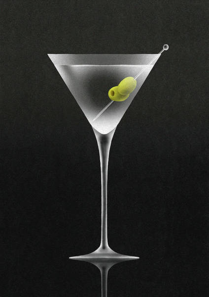 Drinking Glass Digital Art - Olives In Martini Cocktail Glass by Nick Purser