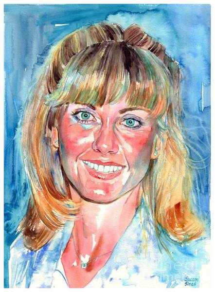 John Singer Painting - Olivia Newton John Watercolor by Suzann Sines